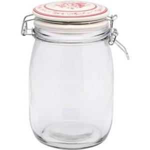 Glass storage jar abelone raspberry